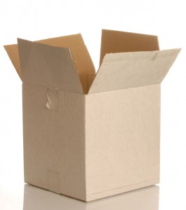 worn white cardboard box isolated on white background..